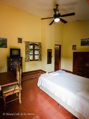 Room 3 w/ private bathroom. Spacious room w/ closet, desk, ceiling fan, TV, window to the patio. Price: 1 person $ 22 per night 2 persons $ 30 per night